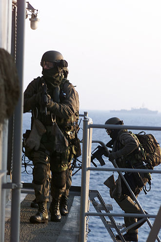 United States Marine Corps Force Reconnaissance - A team of operators from a direct action platoon (DAP) conduct 'Visit, Board, Search, and Seizure' (VBSS) training during a Maritime Interdiction Operation (MIO) exercise. — example of black operations.