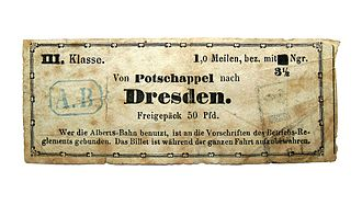 Dresden–Werdau railway - Albertsbahn ticket from about 1855