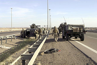 First Battle of Fallujah - During the First Battle of Fallujah, U.S. Marines from 2nd Battalion, 1st Marines block off Fallujah's Highway 1.