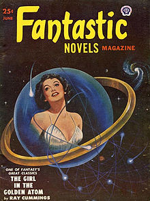 "The words ""Fantastic Novels"" in yellow and the word ""MAGAZINE"" in red above a blue sphere depicting the torso of a woman wearing a white dress and looking up"
