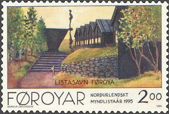 Listasavn Føroya - Listasavn Føroya on a national stamp, 1995.