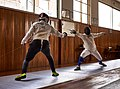 Fencing in Greece. Greek Epee Fencers. Fencing training at Athenaikos Fencing Club.jpg