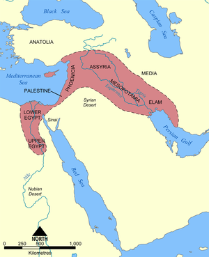 Fertile Crescent - Picture showing the generally defined area of the Fertile Crescent in red