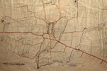 A Map from around 1800 showing the names of fields around the centre of the village