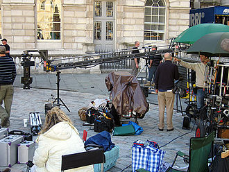 Film crew - The production was for the TV movie Sherlock Holmes and the Case of the Silk Stocking at Somerset House in London.