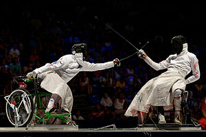 Wheelchair fencing - Romain Noble (L) v Tian Jianquan (R) in the final of the épée A event in the 2013 World Fencing Championships
