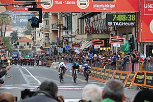 Milan–San Remo - Michał Kwiatkowski winning the 2017 Milan-San Remo by narrowly outsprinting Peter Sagan and Julian Alaphilippe on the Via Roma.