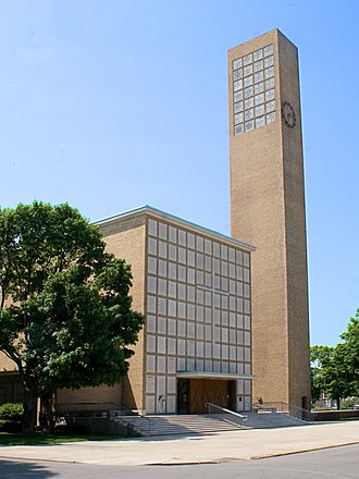 National Register of Historic Places listings in Indiana - First Christian Church, designed by Eliel Saarinen, in Bartholomew County