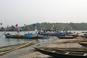 Ankobra River - Fishing boats at the estuary of Ankobra River