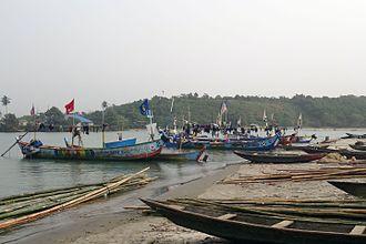 Ankobra River - Fishing boats at the estuary of Ankobra River