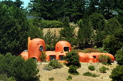 View of The Flintstone House from Eugene A. Doran Memorial Bridge on Interstate 280 (June 2007)