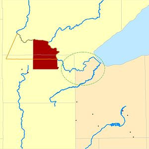 Fond du Lac Indian Reservation - Fond du Lac Indian Reservation. (1854-1858 reservation shown in orange outline. 1858-present reservation shown in dark red.) Original core Fond du Lac Band area before relocation to the Fond du Lac Indian Reservation shown in green.