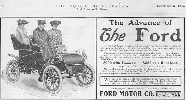 An ad for the Ford Model A, the first car produced by the Ford Motor Company.