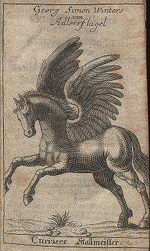 Gravure de cheval avec deux ailes à plumes levées attachées à ses