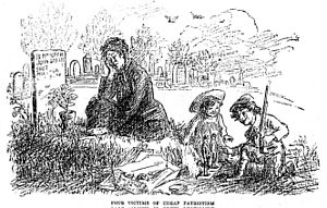 Anti-patriotism - Four Victims of Cheap Patriotism (1910). Anti-war cartoon depicting a widow grieving the death of her husband alongside their children playing with a toy rifle and soldiers.
