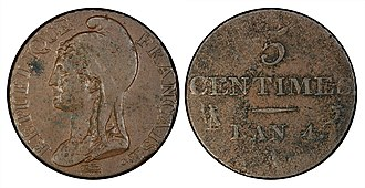 French franc - 1795 five centimes, the first year of decimal fractions for the franc.