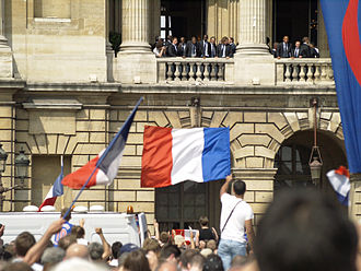 France national football team - The French team in front of fans in 2006.