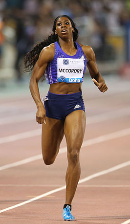 Francena McCorory tijdens de Diamond League meeting in Doha, 2015.
