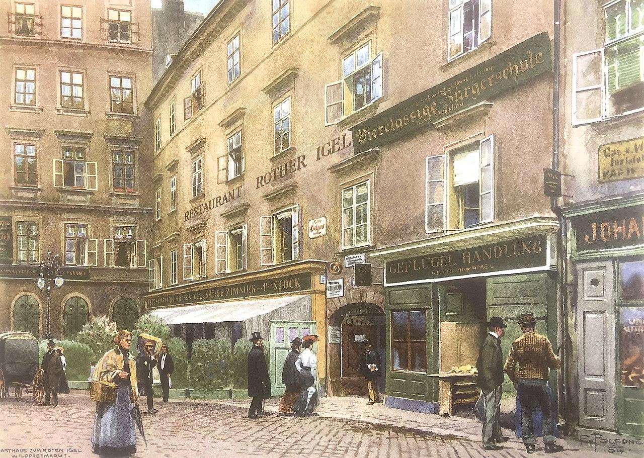 Franz Poledne Haus Zum roten Igel, Aquarell, 1904.jpg