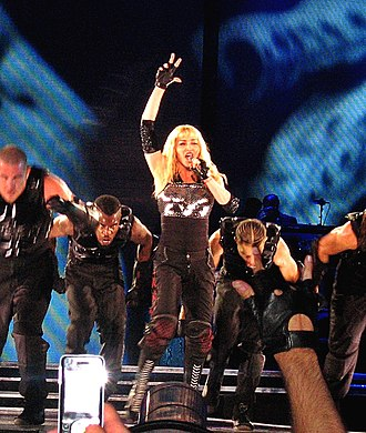 Lead vocalist - Madonna at a 2009 show.