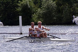 A contrasting coxless pair, with one oar per rower