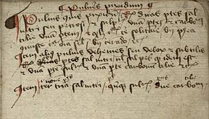 Nürnberger Handschrift GNM 3227a - Three paragraphs on making gunpowder (pulveres pixidum), fol. 6r.