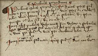 Pilcrow - Three short paragraphs on making gunpowder in the manuscript GNM 3227a (Germany, c. 1400); the first paragraph is marked with an early form of the pilcrow sign, the two following paragraphs are introduced with litterae notabiliores (literally: enlarged letters).