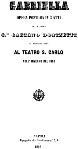 Gaetano Donizetti - Gabriella di Vergy - title page of the libretto - Naples 1869.png