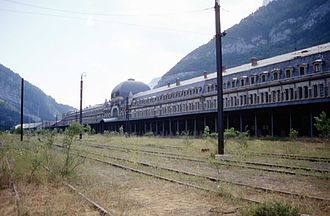 Canfranc - Abandoned site of the Canfranc International railway station in 1994