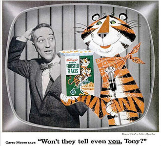 Tony the Tiger - Tony with Garry Moore in an October 1955  Life magazine ad