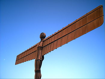 The Angel of the North with a perfect blue sky...