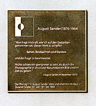 August Sander - Memorial plaque at his residence in Cologne