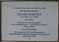 Photo of Lilian Harvey white plaque