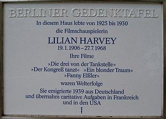 Lilian Harvey - Image: Gedenktafel Lilian Harvey Berlin Düsseldorferstrasse 47 20070607