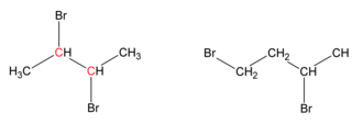 Vicinal (chemistry) - 2,3-dibromobutane (at left) and 1,3-dibromobutane (at right). Carbons containing vicinal functional groups are marked in red.
