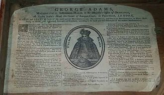 George Adams (instrument maker, elder) - Oldest known trade card for George Adams, at The Mariners' Museum