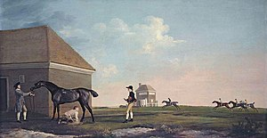 Gimcrack - Gimcrack on Newmarket Heath, with a trainer, a jockey and a stable lad. (George Stubbs, 1765