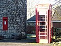 George V postbox and telephone box, Mappowder - geograph.org.uk - 1092230.jpg