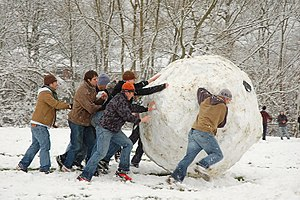 Enormous snowball made in South Park in a snow...