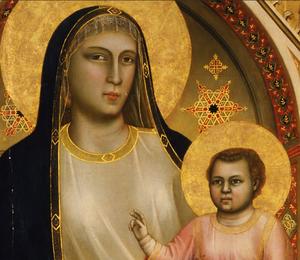 Ognissanti Madonna - Image: Giotto di Bondone Madonna Enthroned detail