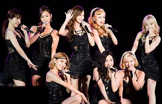 Girl group - Girls' Generation. Left to right, standing: Sunny, Yuri, Yoona, Seohyun and Taeyeon. Left to right, kneeling: Sooyoung, Tiffany and Hyoyeon