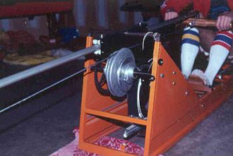 Indoor rower - Gjessing-Nilson rowing ergometer, showing helical pulley and flywheel