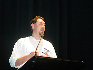 Cycle Friendly Awards - CAN Executive member Glen Koorey presenting the 2003 Awards