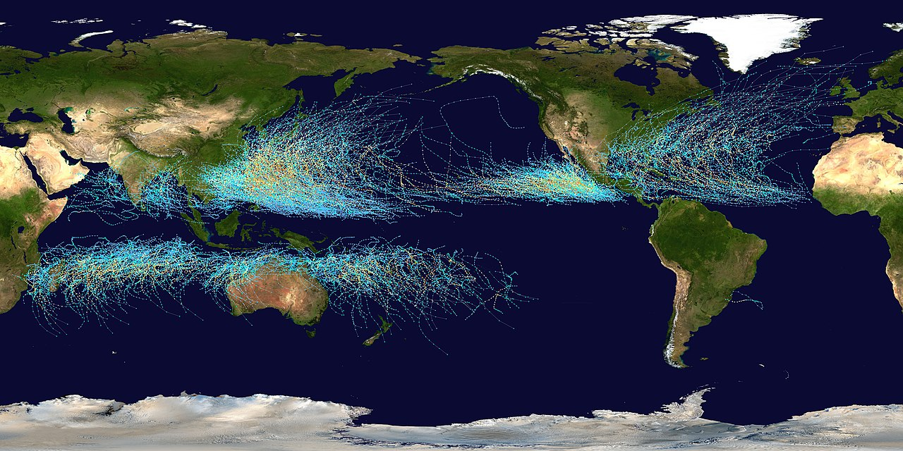 Global tropical storm tracks