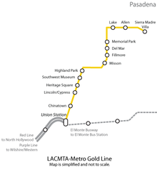 A Gold Line map.