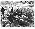 Gold mining operation showing miners using gold pan and a sluice, Alaska, circa 1898 (AL+CA 343).jpg