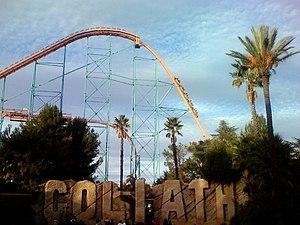 Goliath (Six Flags Magic Mountain) - Image: Goliath at Six Flags Magic Mountain (first drop)