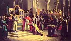 Battle of Golpejera - Alfonso VI taking the Oath of Santa Gadea