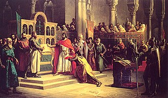 Battle of Golpejera - Alfonso VI taking the Oath of Santa Gadea