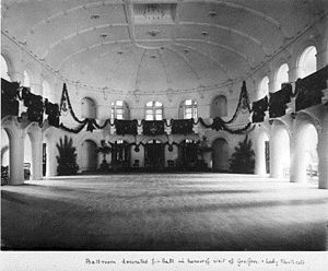 Government House, Perth - The ballroom in 1907 decorated for a visit of Governor-General Henry Northcote and Lady Northcote.